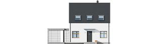 Projekt domu E8 (z wiatą) ENERGO PLUS - elewacja frontowa