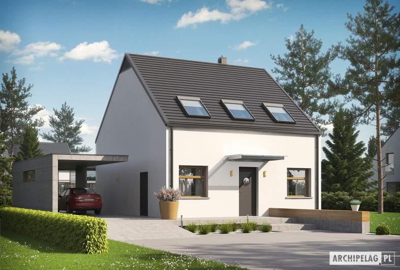 Projekt domu E8 (z wiatą) ENERGO PLUS - wizualizacja frontowa