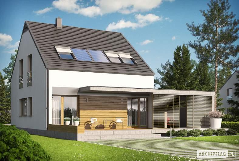 Projekt domu E8 (z wiatą) ENERGO PLUS - wizualizacja ogrodowa