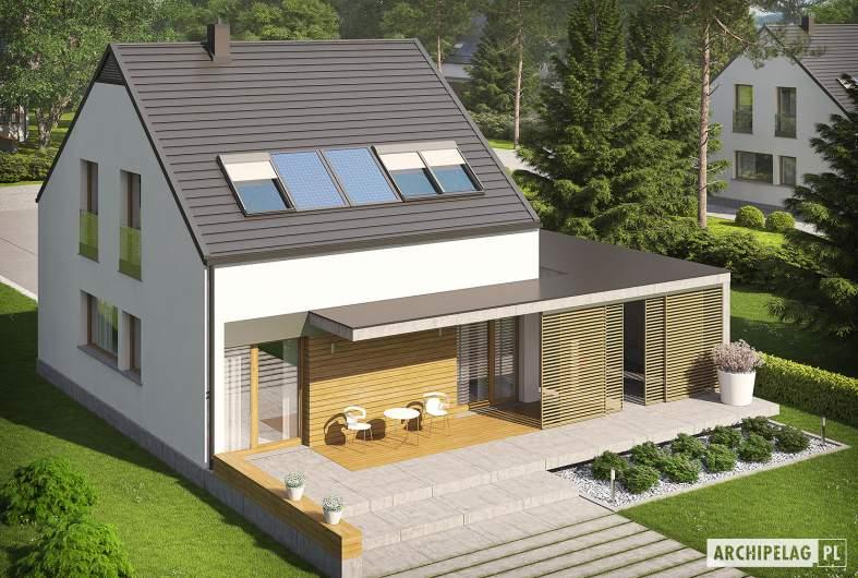 Projekt domu E8 (z wiatą) ENERGO PLUS - widok z góry