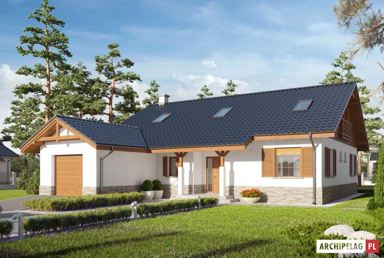 Projekt domu Rózia G1 ENERGO PLUS - wizualizacja frontowa