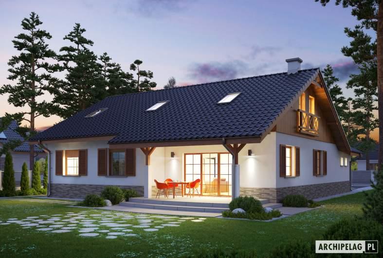 Projekt domu Rózia G1 ENERGO PLUS - wizualizacja ogrodowa nocna
