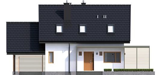 Lea G1 - Projekty domów ARCHIPELAG - Lea II (z wiatą) - elewacja frontowa