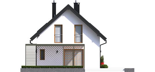 Lea G1 - Projekty domów ARCHIPELAG - Lea II (z wiatą) - elewacja prawa