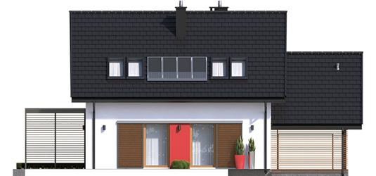 Lea G1 - Projekty domów ARCHIPELAG - Lea II (z wiatą) - elewacja tylna
