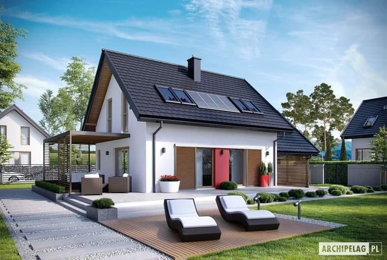 Projekt domu Lea II (z wiatą) - Projekty domów ARCHIPELAG - Lea II (z wiatą) - wizualizacja ogrodowa
