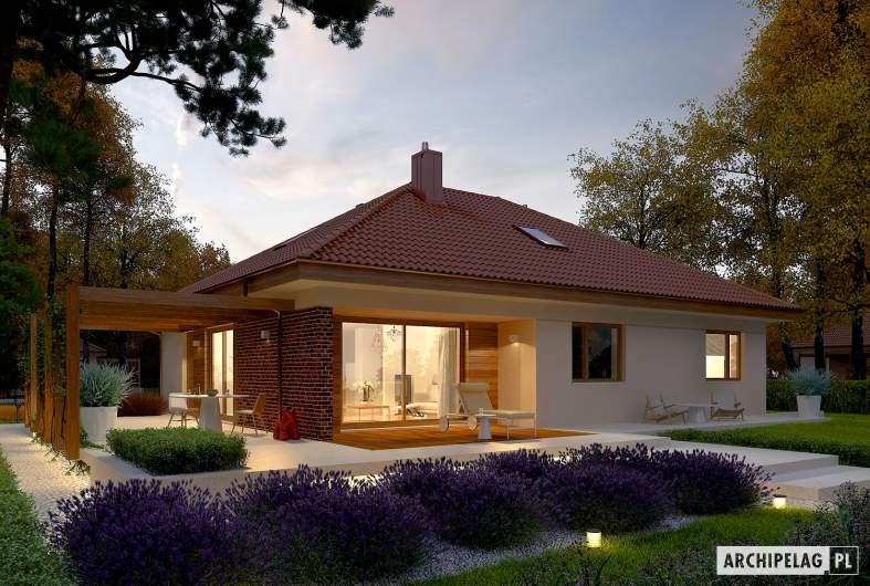 Projekt domu Astrid (mała) G1 - wizualizacja ogrodowa nocna