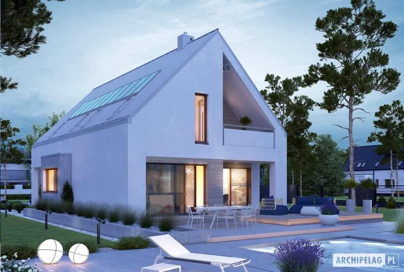 Projekt domu Riko IV G2 ENERGO PLUS - wizualizacja ogrodowa nocna
