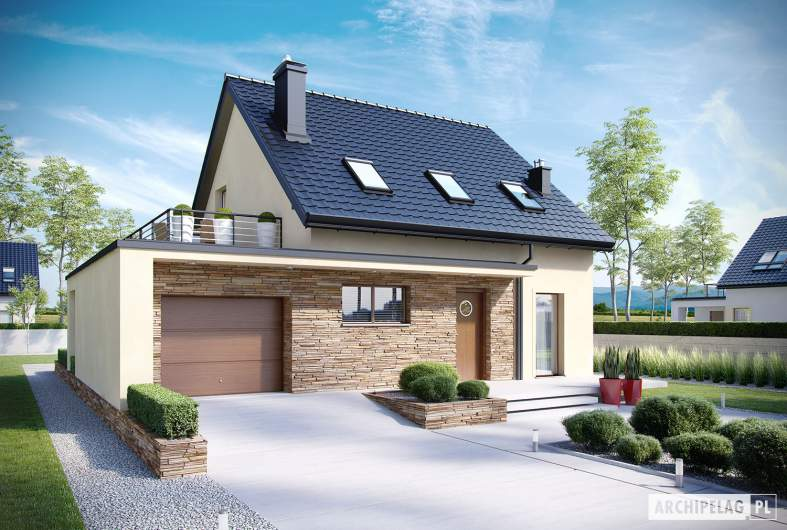 Projekt domu E14 II G1 MULTI-COMFORT - wizualizacja frontowa