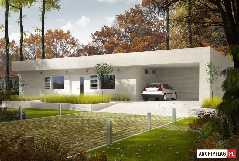 Projekt domu EX 6 (z wiatą) - wizualizacja frontowa