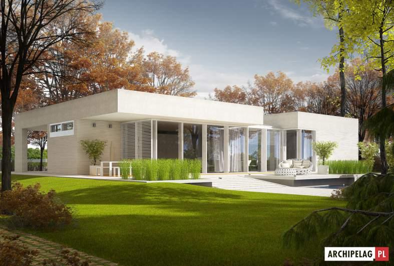 Projekt domu EX 6 (z wiatą) - wizualizacja ogrodowa