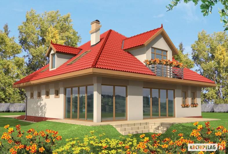 Projekt domu Baśka G1 - wizualizacja ogrodowa