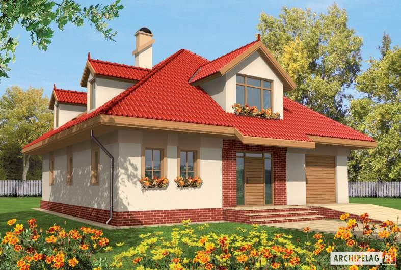Projekt domu Baśka G1 - wizualizacja frontowa