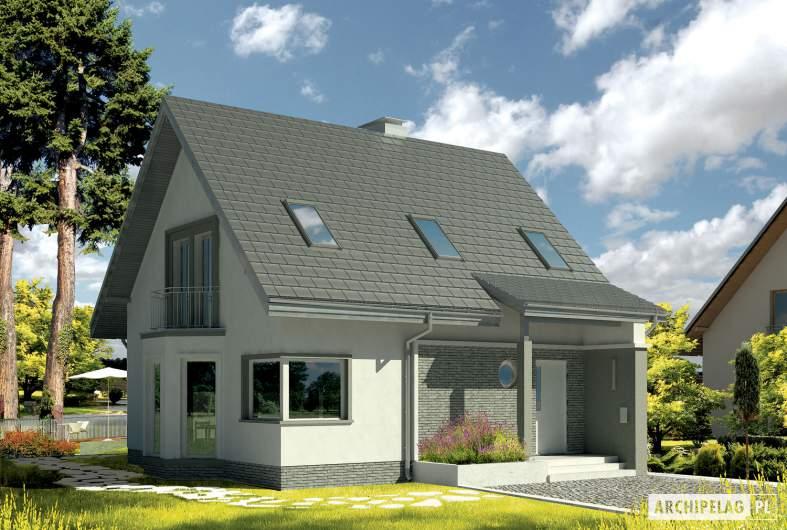 Projekt domu Kim (wersja B) - wizualizacja frontowa