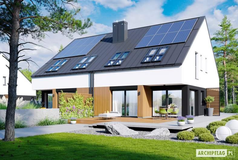 Projekt domu Lukas II G1 wersja A (bliźniak) - wizualizacja ogrodowa