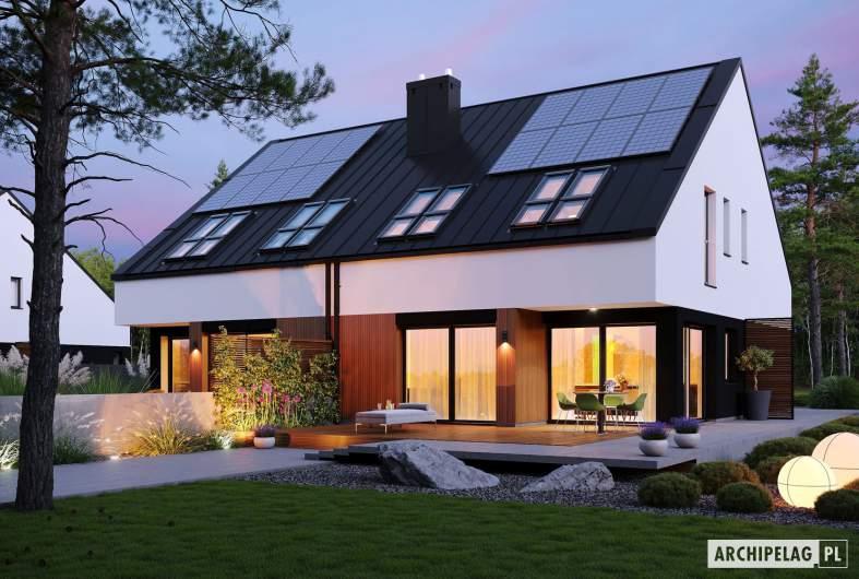 Projekt domu Lukas II G1 wersja A (bliźniak) - wizualizacja ogrodowa nocna