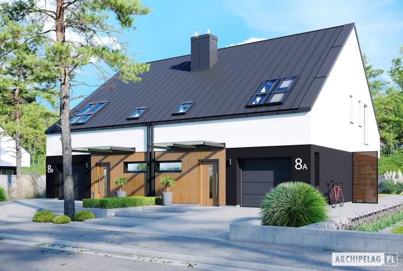 Projekt domu Lukas II G1 wersja A (bliźniak) - wizualizacja frontowa