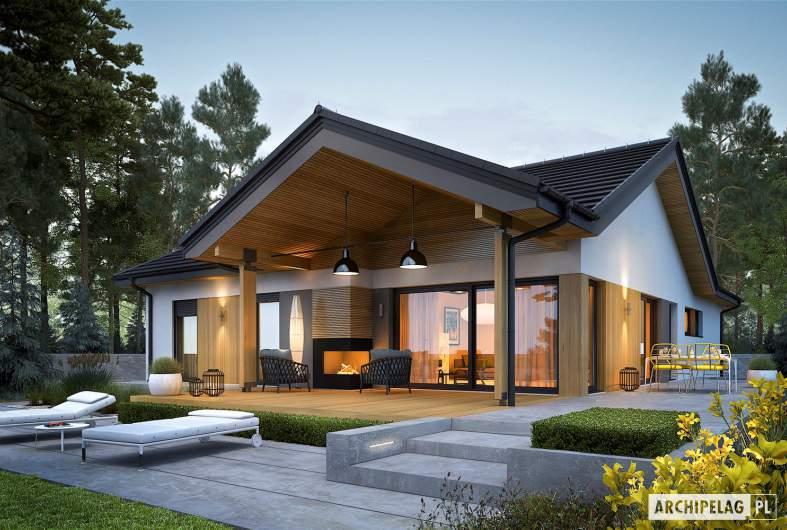 Projekt domu Simon IV G2 - wizualizacja ogrodowa nocna