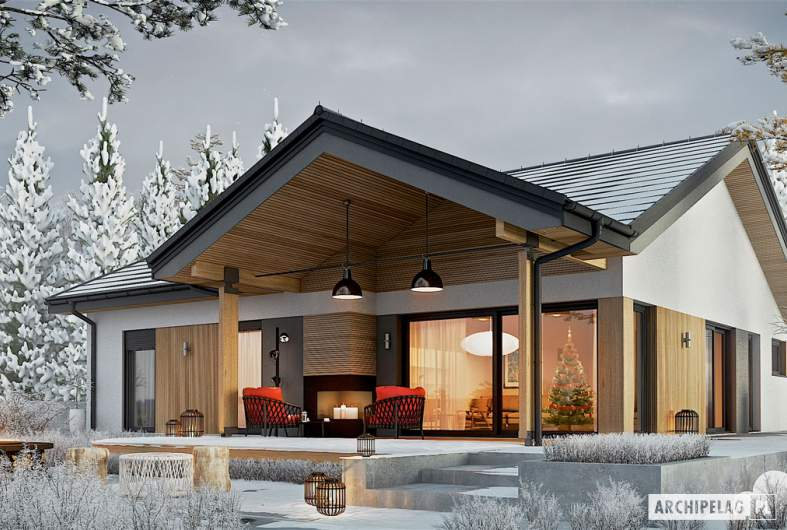 Projekt domu Simon IV G2 - wizualizacja ogrodowa zimowa