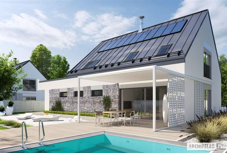 Projekt domu Sam II G2 ENERGO PLUS - wizualizacja ogrodowa