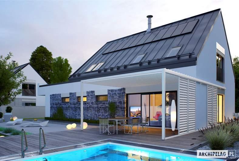 Projekt domu Sam II G2 ENERGO PLUS - wizualizacja ogrodowa nocna