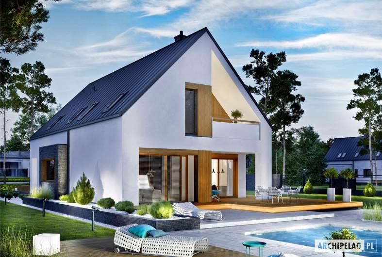 Projekt domu Riko III G2 - wizualizacja ogrodowa nocna
