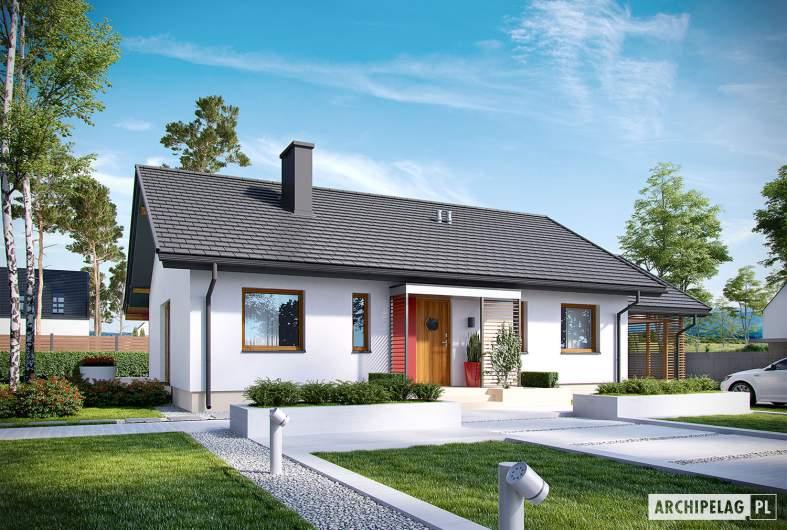 Projekt domu Kornel VI (z wiatą) ENERGO - wizualizacja frontowa