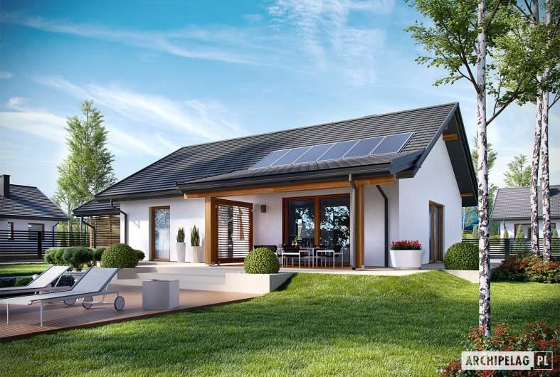 Projekt domu Kornel VI (z wiatą) ENERGO - wizualizacja ogrodowa