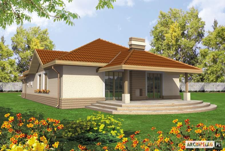 Projekt domu Lidka G1 - wizualizacja ogrodowa