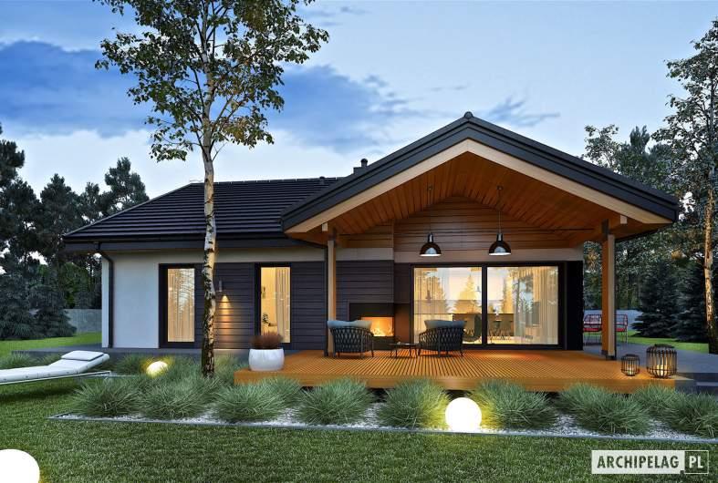 Projekt domu Simon III G2 - wizualizacja ogrodowa nocna