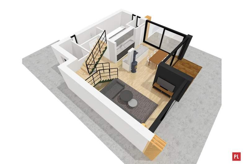 Projekt domu EX 2 - wizualizacja 3D