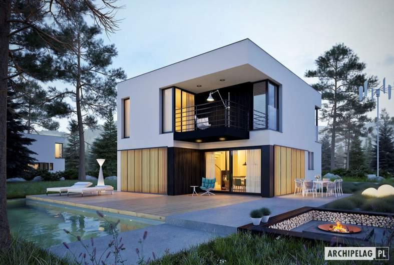 Projekt domu EX 2 - wizualizacja ogrodowa nocna