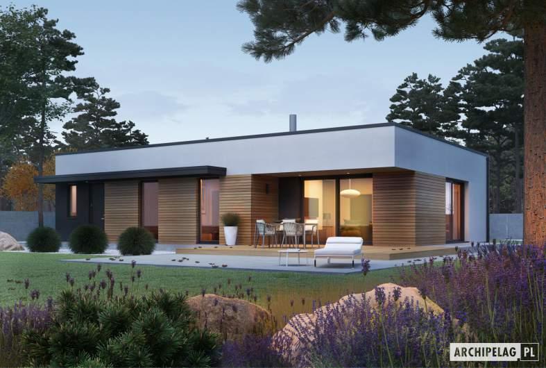 Projekt domu Mini 1 G1 MODERN PLUS - wizualizacja ogrodowa nocna