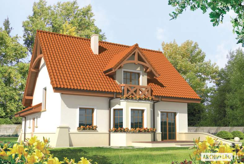 Projekt domu Wiolka G1 - wizualizacja ogrodowa