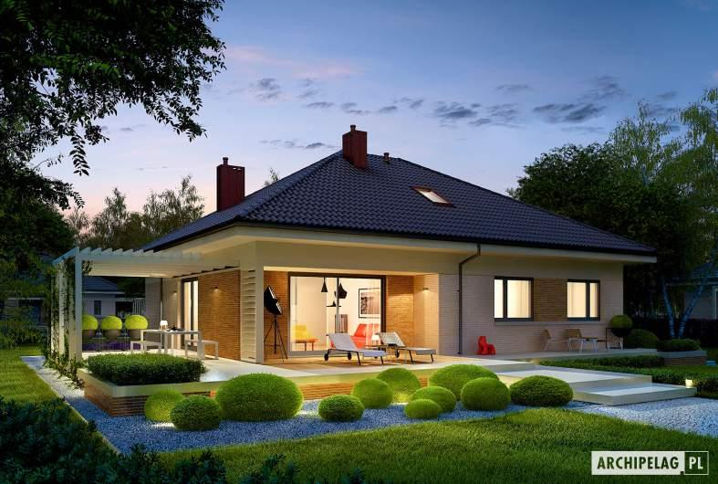 Projekt domu Flo III - wizualizacja ogrodowa nocna