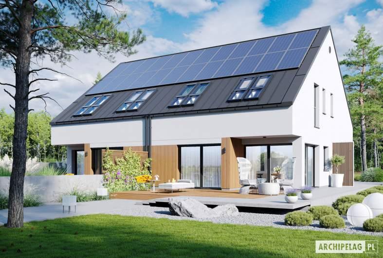 Projekt domu Lukas II G1 w. A ENERGO PLUS (bliźniak) - wizualizacja ogrodowa