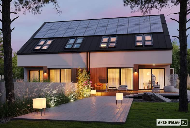 Projekt domu Lukas II G1 w. A ENERGO PLUS (bliźniak) - wizualizacja ogrodowa nocna