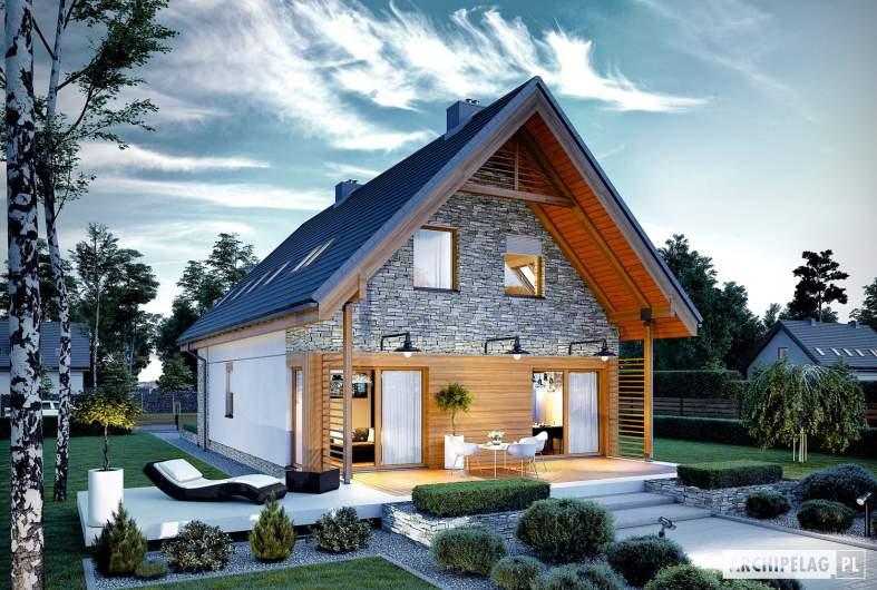 Projekt domu Elias G1 - wizualizacja ogrodowa nocna