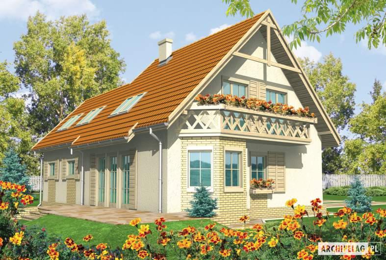 Projekt domu Śnieżynka II G2 - wizualizacja ogrodowa