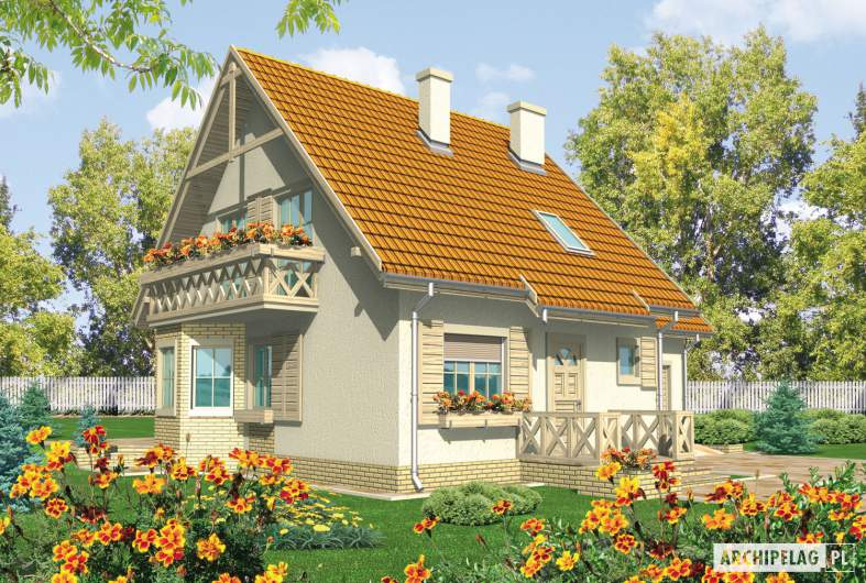 Projekt domu Śnieżynka II G2 - wizualizacja frontowa