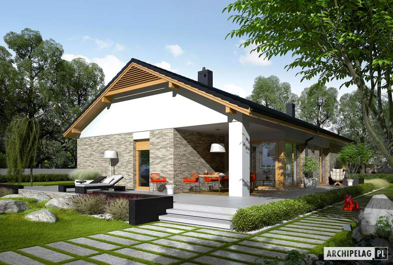 Projekt domu Daniel G2 - wizualizacja ogrodowa