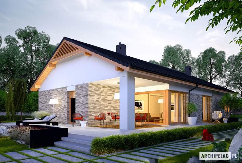 Projekt domu Daniel G2 - wizualizacja ogrodowa nocna