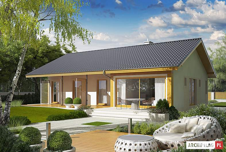 Projekt domu Eryk ENERGO PLUS - wizualizacja ogrodowa