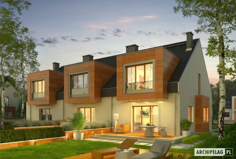 Projekt domu Sansa - Projekty domów ARCHIPELAG - Sansa - wizualizacja ogrodowa nocna