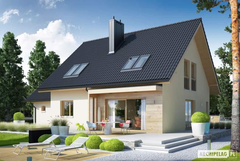Projekt domu E5 G1 ECONOMIC (wersja D) - wizualizacja ogrodowa