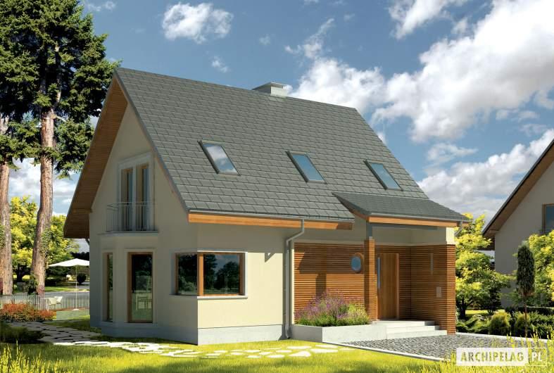 Projekt domu Kim (wersja C) - wizualizacja frontowa