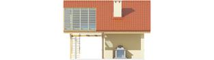 Projekt domu Budynek gospodarczy G35 (z wiatą) - elewacja tylna