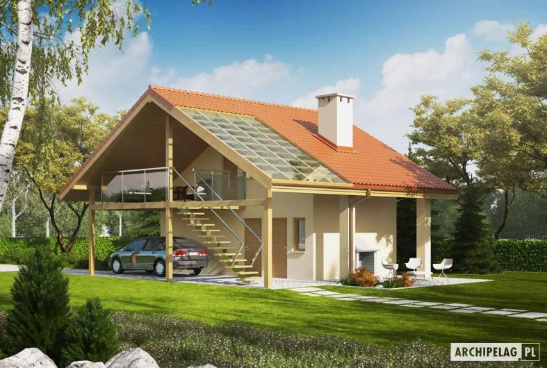 Projekt domu Budynek gospodarczy G35 (z wiatą) - Projekt Budynek gospodarczy G35 - wizualizacja ogrodowa