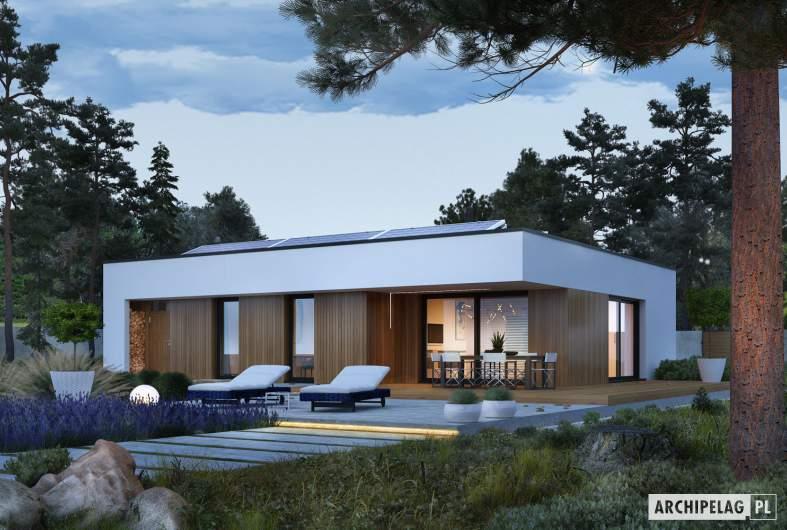 Projekt domu Mini 4 MODERN - wizualizacja ogrodowa nocna