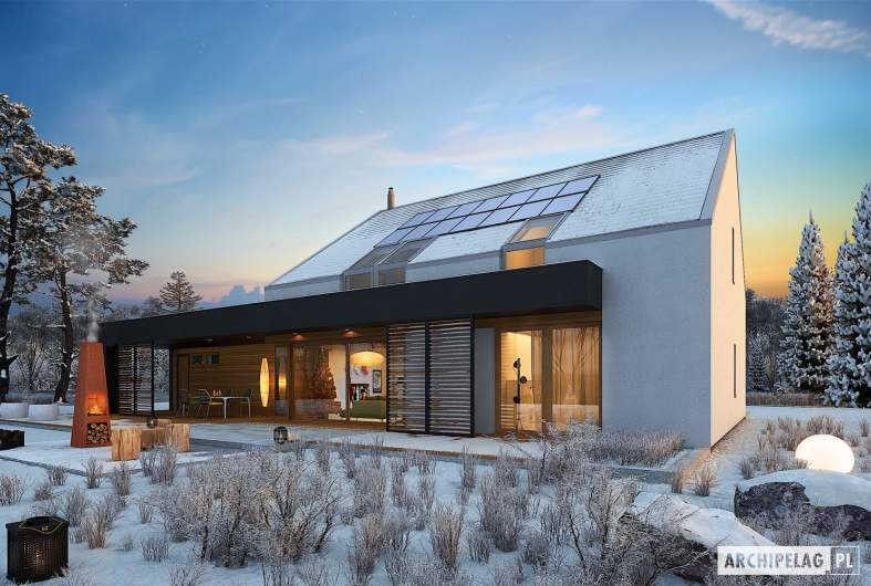 Projekt domu EX 18 G2 ENERGO PLUS - wizualizacja ogrodowa zimowa